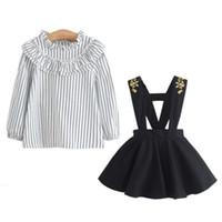 Wholesale toddler striped t shirt resale online - New Toddler Baby Girls Lattice Strap Skirt Long Sleeve T Shirt Ruched Outfits Set Vestido roupa infantil roupas infantis