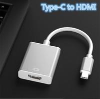 usb weiblicher apfel großhandel-Handy PC Laptop Spiegelmodus Verlängerungsmodus USB-C auf HDMI Adapterkabel USB 3.1 Typ C auf HDMI Stecker auf Buchse Konverter Laptop PC anschließen