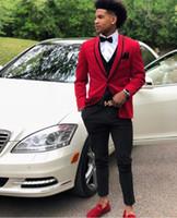 Wholesale images mens wedding suits resale online - Designer Red Mens Wedding Suits One Button Groomsmen Suit Groom Tuxedos Shawl Lapel Party Beach Suit Jacket Vest Pants Cheap Prom Blazers