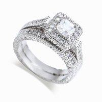 14kt gold diamantringe großhandel-Großhandelsfreies Verschiffen echte feine Prinzessin Schnitt 14kt Weißgold gefüllt voller Topaz Edelstein simulierten Diamanten Frauen Hochzeit Verlobungsring