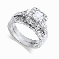 anillos de diamantes de oro de 14kt al por mayor-Venta al por mayor - envío gratis real bien princesa corte 14kt oro blanco lleno de topacio lleno Joya simulada diamante Anillo de compromiso de boda de las mujeres