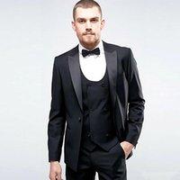 winter brautkleid wolle großhandel-Handsome Groomsmen Wollmix Bräutigam Smoking Mens Hochzeitskleid Mann Jacke Blazer Prom Dinner 3-tlg. Anzug (Jacke + Hose + Krawatte + Weste) AA119