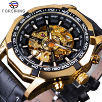 Wholesale button clocks for sale - Group buy Forsining Waterproof Golden Black Skeleton Clock Two Button Decoration Mechanical Wrist Watches for Men Black Genuine Leather