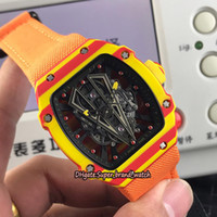 fall orangen großhandel-Best Edition RM 27-03 Rafael Nadal NTPT Rot Gelb Carbon Gehäuse Skeleton Zifferblatt Miyota Automatic RM27-03 Herrenuhr Orange Nylon Uhren