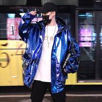 moda gösteri bandı toptan satış-2019 Yeni Moda Erkek Gece Kulübü göster Pu Deri Ceket Ceket Gevşek Coat Takım WINDBREAKER Streetwear Hip Hop Mavi