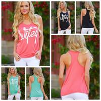 basılı yelek toptan satış-Yaz Üst Kadın Kolsuz Casual Mektubu Baskı Gevşek Tank Bayanlar Streetwear Tops camiş yelek Bluz Gömlek AAA2114