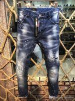 Wholesale pants torn jeans for sale - Dsquared2 DSQ D2 Dsquared Hole Pierre  Rock Biker Jeans f64a62e5eebd