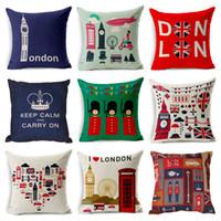 london kissenbezüge großhandel-Dekorativer Kissenbezug im britischen Stil England London Printing Dekokissenbezug Kissenbezug Kussensloop Almohada