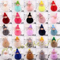 Wholesale 26 Color Cute Sleeping Baby Doll Keychain Pom Pom Rabbit Fur Ball Key Chain Car Keyring Women Key Holder Bag Pendant Charm Accessories D053