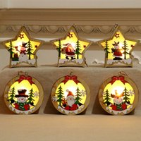 Wholesale star shaped christmas led lights for sale - Group buy Christmas Decoration Wooden Glowing Ornament Star Round Shape LED Light Luminous Santa Snowman Deer Hanging Pendant DHL WX9