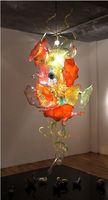 ingrosso piastre in vetro soffiato-Novità saltata mano lastra di vetro Lampadario Design lampada LED risparmio sorgente luminosa pendente eccellente decorazione di arte