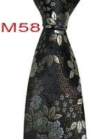 gravata de seda de champanhe venda por atacado-Clássico 100% JACQUARD TECIDO HANDMADE Mens Preto / Marrom / Champagne Floral Homens gravata de seda Gravata M58