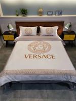 gelbe königin bettwäsche gesetzt großhandel-Weiß gelb Druck Bettwäsche-Sets Queen-Size- Medusa Baumwollmischung Frühling Sommer Bettbezug Kontrastfarbe Bettwäscheanzug