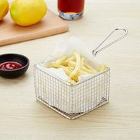 пищевая проволока оптовых-Корзина для хранения картофеля фри из нержавеющей стали, держатель для закусок, лоток для сервировки хлеба, кухонный инструмент для приготовления пищи, 2 упаковки