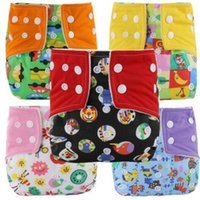 Wholesale baby cloth diapers cartoons resale online - Washable Diapers leak proof snap Baby Diaper Cover Wrap Cartoon Print Nappy Changing Reusable adjustable size Baby Cloth Diapers