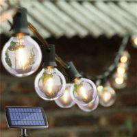 cam küre lambaları toptan satış-G40 Ampul Globe Güneş Işıklar Güneş Bahçe Edison Ampul Noel Açık Düğün için Işıklar Retro Cam Lambası Garland Avlu Işıklar