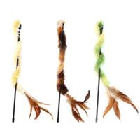 anillos varillas al por mayor-Pet Cat Plush Feather Stick Catcher Wand Interactivo Teaser Rod Regalos divertidos Pull Ring Vibración Juguetes Interactivos
