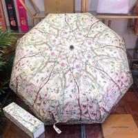 uv strandregenschirm großhandel-Hohe Zähigkeit Sonnenschirme Natur Stil Blume gedruckt winddicht Sonnenschirme Wachsdruck Stoff im Freien UV-Schutz Sonnenschirm