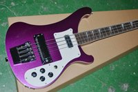 Wholesale metal strings guitar resale online - 4 Strings Metal Purple Electric Bass Guitar One PC Neck Body Dual Output Chrome Hardware Ric China Bass