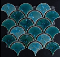 Wholesale outdoor toilets resale online - Fan mosaic tile background wall kitchen bathroom fish scales ceramic glaze mosaic toilet