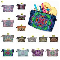 Wholesale coin online - Bohemia Mandala Floral D Print Cosmetic Bags Women Travel Makeup Case Women Handbag Zipper Cosmetic Case Flower Printed bag MMA1866