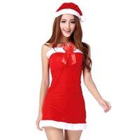 pantalones cortos de navidad para mujer al por mayor-Mujer de Navidad de Cosplay del traje de la etapa cabestro corto mini vestido de la ropa interior mullido
