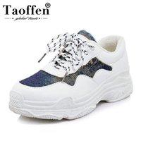 zapatos del club del brillo al por mayor-TAOFFEN Tallas grandes 29-46 Zapatos vulcanizados Zapatillas de deporte de moda Brillo diario Zapatos Casual Mujer Club diario Calzado de vacaciones