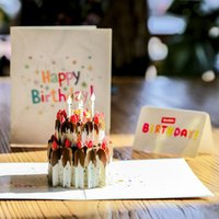 Wholesale birthday cake pop up resale online - 3D Birthday Card Pop Up Cream Birthday Cake Paper Card Happy Birthay Greeting Baby Children Gift ZC0211