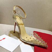 ingrosso pattini del vestito dal chiodo-Luxury RED BOTTOM Tacchi alti Chiodo con cinturino in plastica trasparente con scarpe da donna con bocca superficiale Scarpe con tacchi moda 8/10 / 12CM 0001