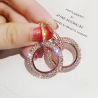 sterling silber 925 shamballa großhandel-Mode koreanische runde elegante ohrringe handgefertigt große runde ohrringe kreis geometrische baumeln ohrring für frauen schmuck