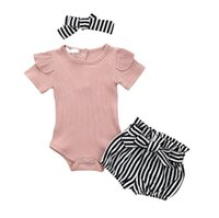 Wholesale baby clothing sets 3pc for sale - Group buy Summer Baby Girl Clothes Set Solid Toddler PC Baby Bodysuit Headband Stipe Shorts For Girls Outfit Costume Rampes Suit
