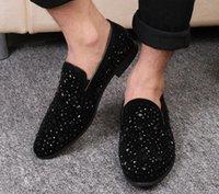 e95453863 Black Spikes Novos Mens Loafers Sapatos De Luxo Denim E Lantejoulas De  Metal de Alta Qualidade Sapatos Casuais Dos Homens