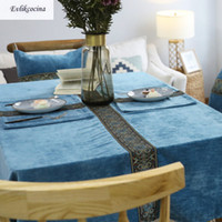Wholesale embroidered tablecloth free shipping resale online - Flannel Embroidery Blue Tablecloth Polyester Toalha De Mesa Nappe Rectangulaire Manteles Para Mesa Covered Cloth