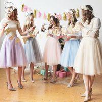 Wholesale white knee length petticoats resale online - Spring Layers Tulle Skirts Fashion Tutu Skirt Knee Length Pleated Womens Wedding Skirt Lolita Petticoat Saia Faldas Jupe