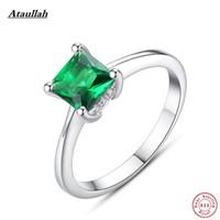 изумрудные кольца оптовых-Ataullah Natural Emerald 925 Кольца из Стерлингового Серебра для Женщин Квадратное Качество Серебряные Женские Кольца для Вечеринок Размер 6,7,8,9 RWD860 S18101002