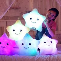 Wholesale led pillows resale online - Luminous Pillow Star Cushion Colorful Glowing Pillow Plush Doll Led Light Toys Gift For Girl Kids Christmas Birthday