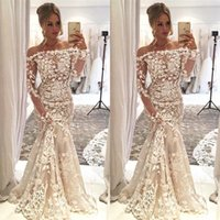 Wholesale sexy engagement party dresses for sale - Group buy 2019 Long Sleeves Off The Shoulder Mermaid Wedding Dresses Long Full Lace Appliques Bridal Gowns Engagement Dresses Wedding Party Dresses