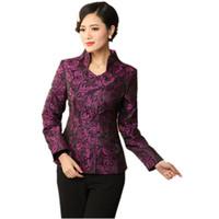 ingrosso giacca di raso di poliestere-Elegante abito da donna viola in raso di poliestere Tang Tang Giacca tradizionale cinese Elegante cappotto floreale Taglia S M L XL XXL XXXL