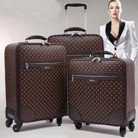 maleta de equipaje de viaje al por mayor-GraspDream clásico de alta calidad 16/18/20/22/24 Pulgadas Mujeres PU durable Rolling Equipaje Spinner marca Hombres de negocios Maleta de viaje
