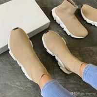 bayan rahat ayakkabılar toptan satış-Maille Tasarımcı Sneakers En Yendi Streç Hız Eğitmen Siyah Tan Erkekler Hız Orta-üst Eğitmen Çorap Sneakers Rahat ayakkabı Koşucular Ayakkabı