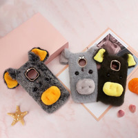 Wholesale cute 3d note case resale online - For One Plus T LG Stylo V50 Huawei P30 P20 D Pig Genuine Hair Case Fluffy Fur Cover Soft TPU Gel Rabbit Fur Plush Cute Lovely Ear