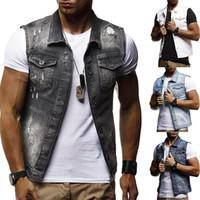 gilet jeans achat en gros de-Mens gilet en jean mens veste sans manches occasionnels gilets vintage mens manteau en jean déchiré slim fit vestes masculines cow-boy
