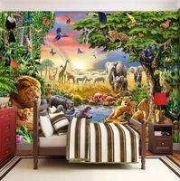 etiquetas do japão para miúdos venda por atacado-Foto feita sob encomenda Mural não tecido Wallpaper 3D Pastagem Leão animal do Zebra Crianças Sala dos desenhos animados Bedroom Pintura Home Decor Recados