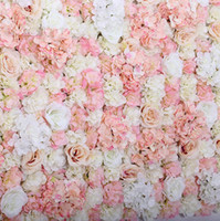 ingrosso sfondo del muro di fiori-FIORE ARTIFICALE PARETE 60X40 CM ROSA HYDRANGEA PANNELLO MATRIMONIO SFONDO BACKDROP Per Wedding Party Decoration Supplies cliente