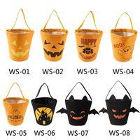 Wholesale kids girls designer handbags for sale - Group buy Halloween Candy Bucket Gift Wrap Girls Boys Child Kids Candy Collection Canvas Bag Handbag Festival Storage Basket HH9