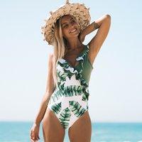 kadın tek parça bodysuit toptan satış-Vintage Kadınlar One Piece Mayo Kadın Retro Mayo Katı Monokini Kapak Göbek Bodysuit Maillot De Bain Plaj Kıyafeti Banyo Takım Y19051801