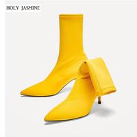 fersen pumpt stiefeletten groihandel-2019 Neue Frauen Stretch Stiefel Socken Stiefel Spitz Elastic High Slip On High Heel Knöchel Frauen Pumps Stiletto Botas