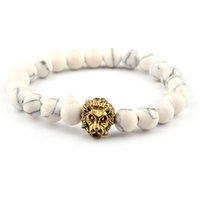 homens pulseira leão venda por atacado-Leo Lion Cabeça pulseira preta de lava pedra frisados Pulseiras Pulseras Hombre Para Homens Mulheres Pedra Bracelet