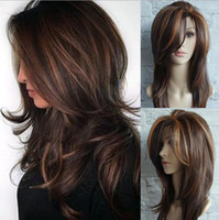 Wholesale brown curly wig highlights resale online - Ladies wig gold brown highlights Ombe gold brown highlights Omber long curly hair fluffy pear flower buckle middle long straight hair FZP149