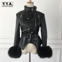 женские короткие кожаные зимние куртки оптовых-Winter Thick Fleece Linning Womens Faux Leather Jackets Asymmetrecal Stand Collar Fake  Cuff Sashes Slim Female Short Coats